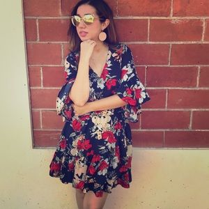 Navy / Red Floral Dress